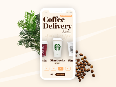 Coffee Delivery for Digital Nomad interface one a day onedaychallenge app mockup design ux ui mobile delivery coffee worker nomad digital