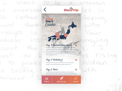 Day 2 - DiaryTrip one a day contest japan app concept app map world book journal backpacker web ui ux design typography travel trip diary