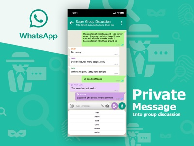 Day 4 - Whatsapp Private Talk into group discussion web design discussion new app mobile device group message private ux function whatsapp