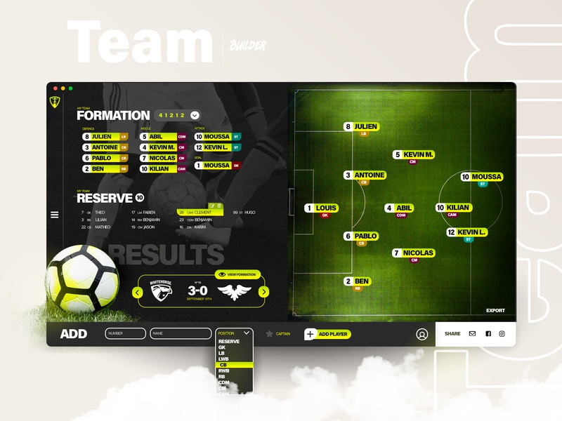 Interface Manager - Sport Web App management app application black design web interface dashboard stats football soccer composition formation template sport ux ui team