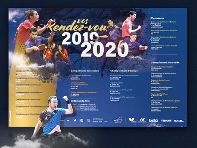 Calendar table tennis calendrier new season design graphic fftt ping table tennis calendar sport