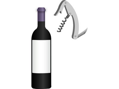 Wine & Cork Screw illustrator adobe