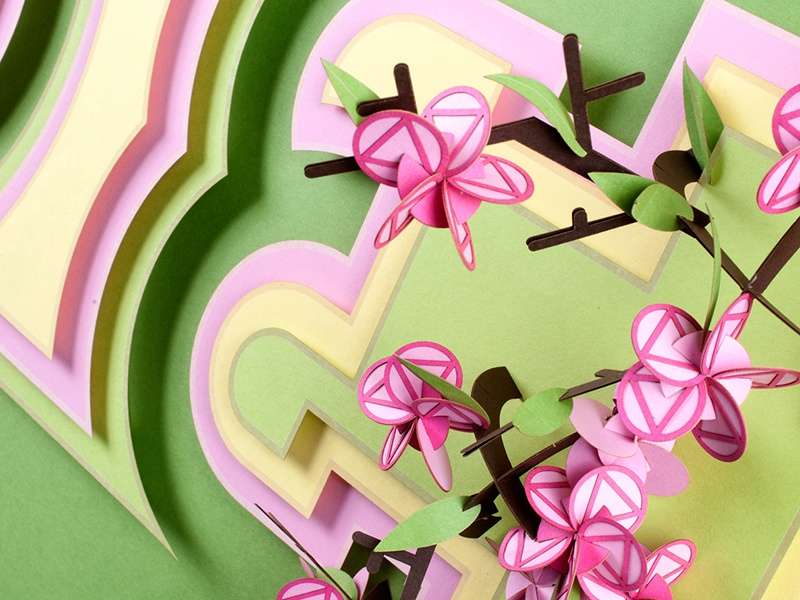 Delaware State Flower, Peach Blossoms french paper flower peach paper craft laser cut paper