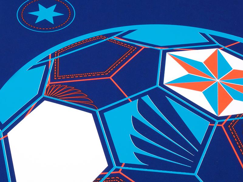 MN United Football Club Poster Detail screenprint wireframe football soccer