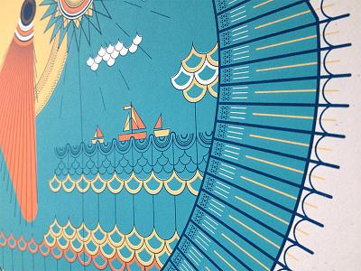 Sunfish fish poster screenprint sunfish
