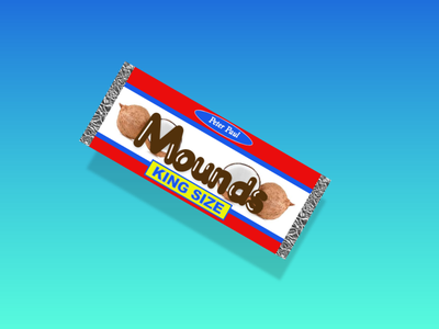 Mounds Throwbacl weekly challenge weekly warm-up candy bar kingsize mounds candybar consumer product logo xddailychallenge xd rebound candy dribbbleweeklywarmup