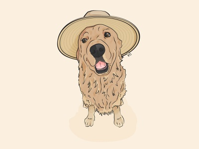 Cody the Pup! hat vector puppy golden retriever pet illustrator illustraion doggo doggy dog cute animal