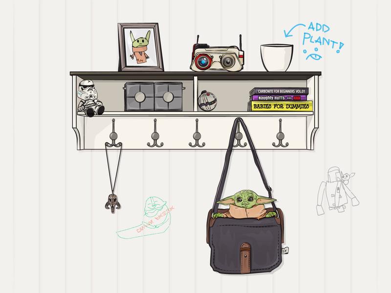 Home Alone vector illustrator fanart disney star wars mandalorian child baby yoda
