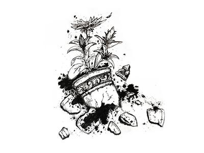 Inktober Day 12 - Shattered flower smash broken plant pot shattered illustration drawing sketch pen 2017 inktober
