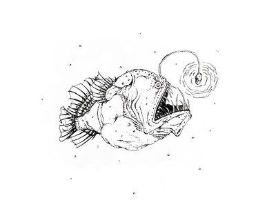 Inktober Day 20 - Deep underwater light creepy angler fish deep creature sketch pen illustration drawing inktober 2017