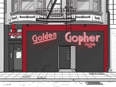 Golden Gopher Bar california architecture street city downtown dtla la los angeles storefront bar building