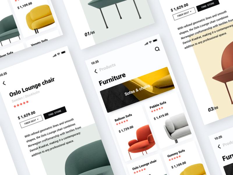 Furniture App ikea furniture interface design ios 11 iphone x card clean color app ui