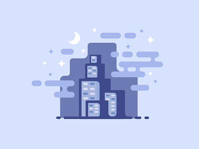 City at Night skyscrapers buildings stars night city