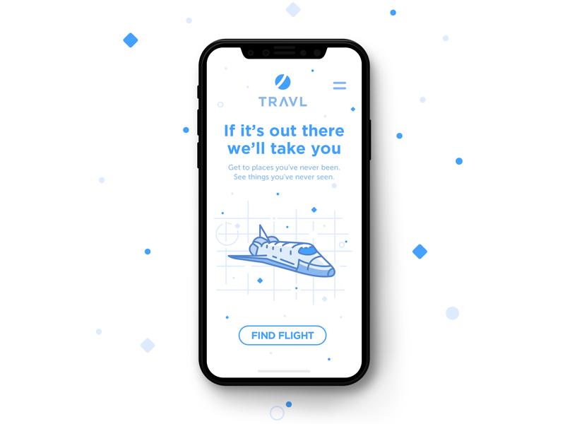 Travl flight space travel app ui mobile