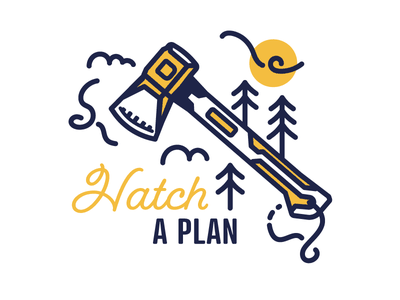 for the weekend. weekends plans clouds trees axe hatchet design illustration nature wilderness outdoors explore