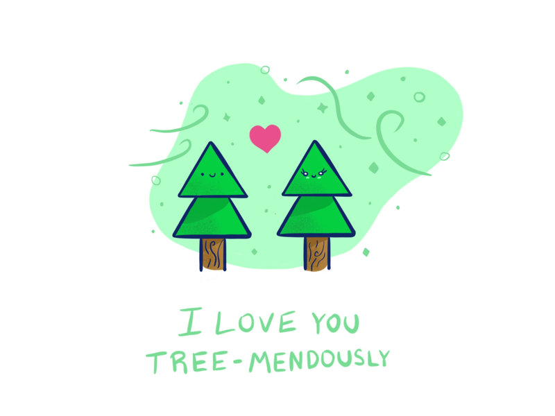 Tree-mendous love ipadpro procreate pun valentine love tree