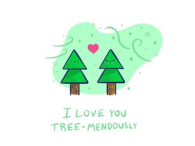 Tree-mendous love ipadpro procreate pun valentine love tree