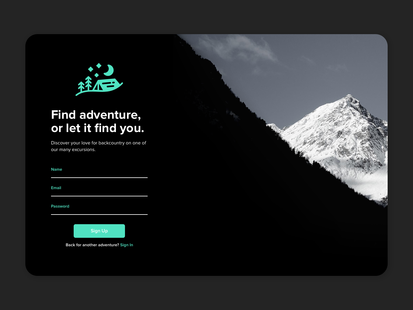 Excursion Sign Up camping backcountry wilderness explore excursion signup ui outdoors mountains dailyui