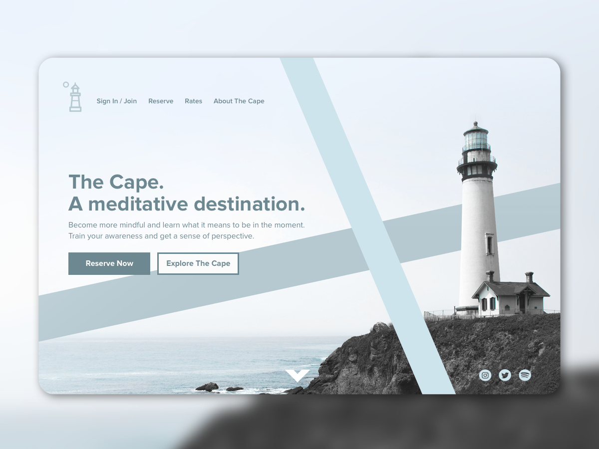 The Cape landing page dailyui ui sea ocean meditate booking remote meditation lighthouse outdoors explore