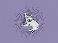 Illuminati? mystical mystic witchy illuminati purple bulldog wok line monoweight monoline dog illustration design puppy dog french bulldog violet