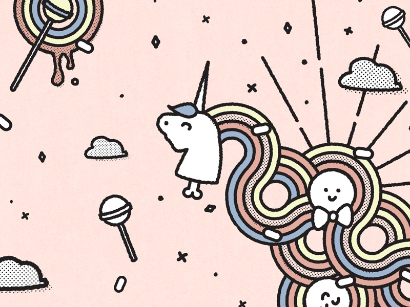 Sunshine, Lollipops and Rainbows texture line art magical fun playful cute happiness unicorn illustration rainbow lollipop sunshine