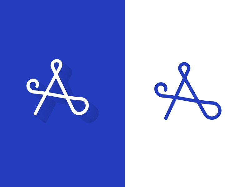 A two ways blue lettering minimal art line illustration typography a letter