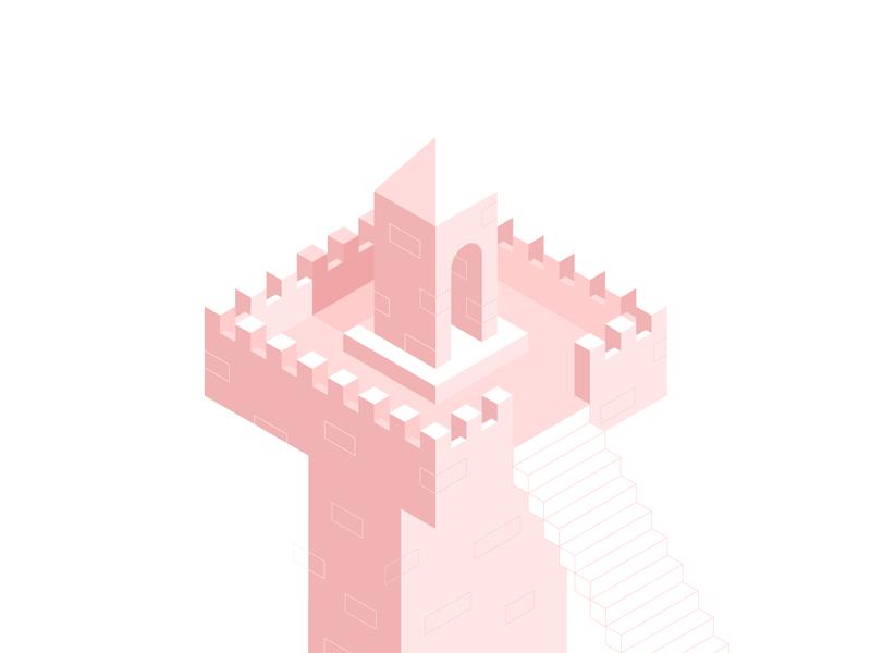 sky tower brick minimal flat shadow illustration isometric castle kingdom stairs pink tower
