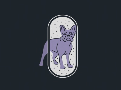 Mystic Violet bulldog puppy dog weight line monoline moon sky stars mystic illustration french bulldog violet