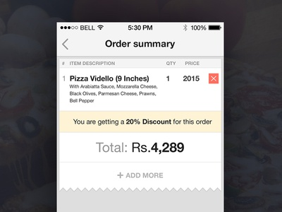 Pizza Delivery app shopping cart UI