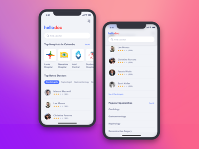 Find a Doctor apple ios11 iphonex doctor channel colombo srilanka ux ui app mobile