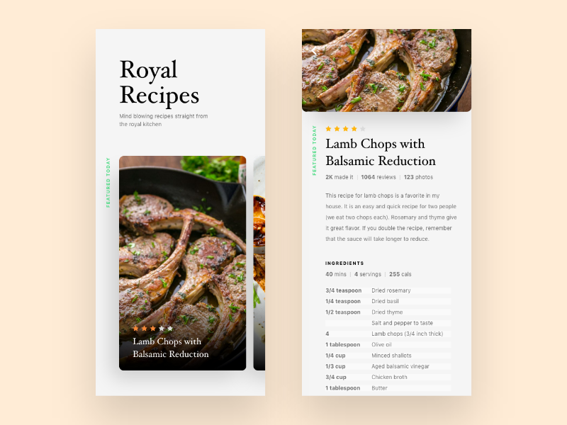 Royal Recipes app uiux food recipe