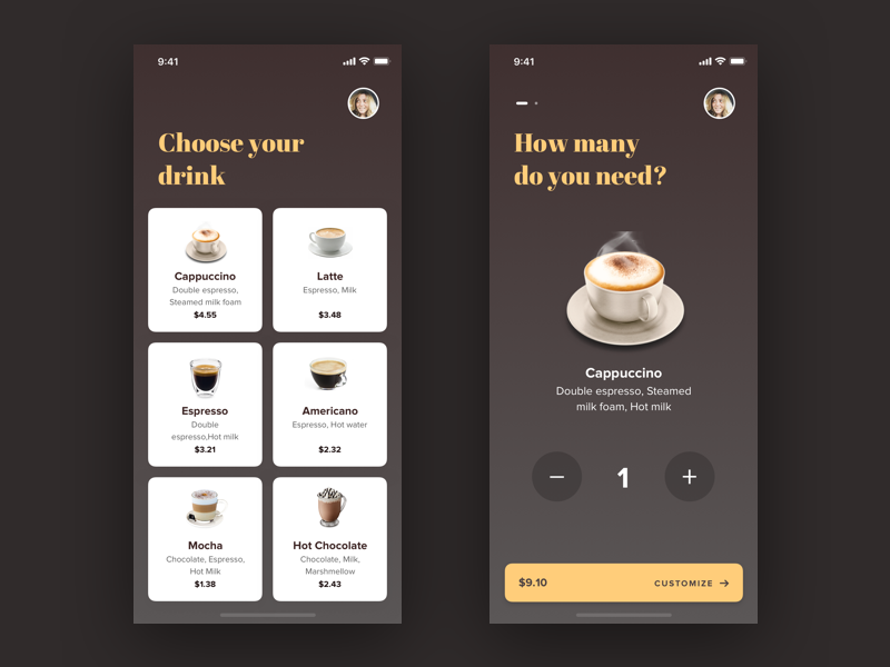 Coffee Order interface iphonex app cards order coffee ui ux uxdesign uidesign