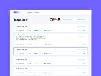 Dashboard UI | Trasnlate