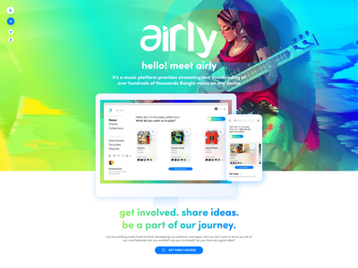 Airly Early Access Landing Page music streaming website landing page design