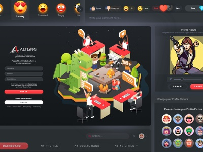Altling Web Design ui kit landing page gaming social network illustration logo branding ux ui design