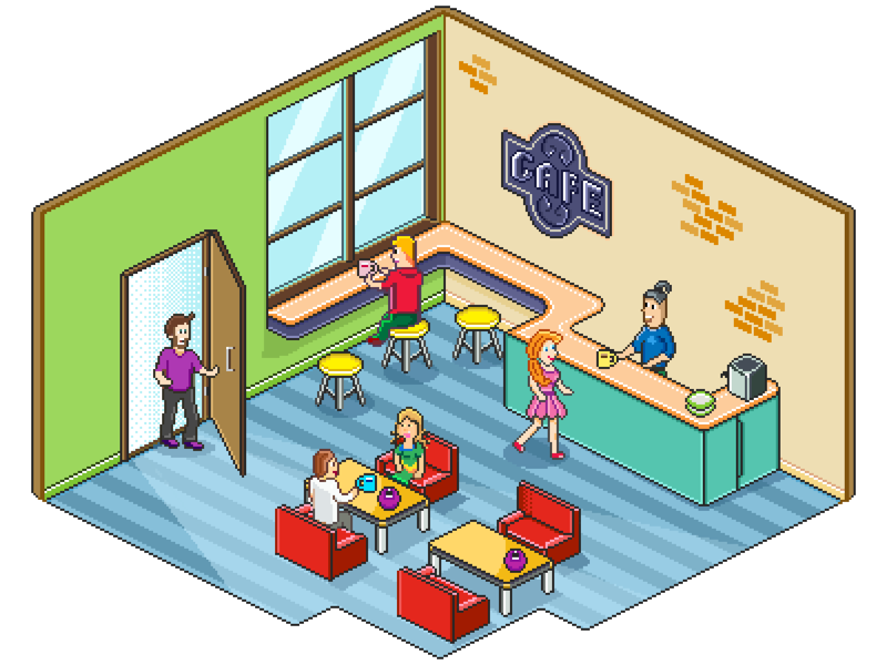 Pixel Cafe coffeehouse coffee people cafe graphics pixelart art pixel