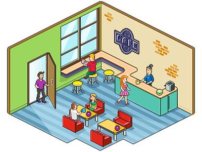 Pixel Cafe coffeehouse coffee people cafe graphics pixelart art pixel