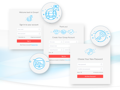 Icons usage on Forms signup account signin password user dashboard blue form icons set screen registration