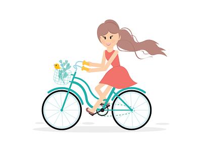 Girl on the Bicycle bird ride riding spring bike bicycle girl illustration