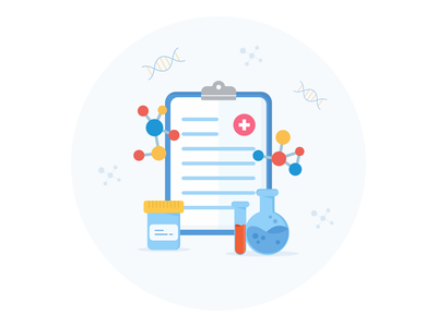 Lab illustration for an article medical sheet research science illustration icon data chemist laboratory test lab