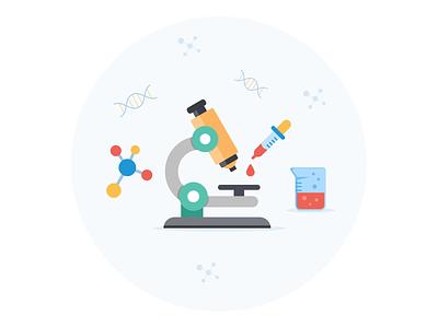 Lab illustration for an article chemist glass research science laboratory medecine illustraion icon test lab