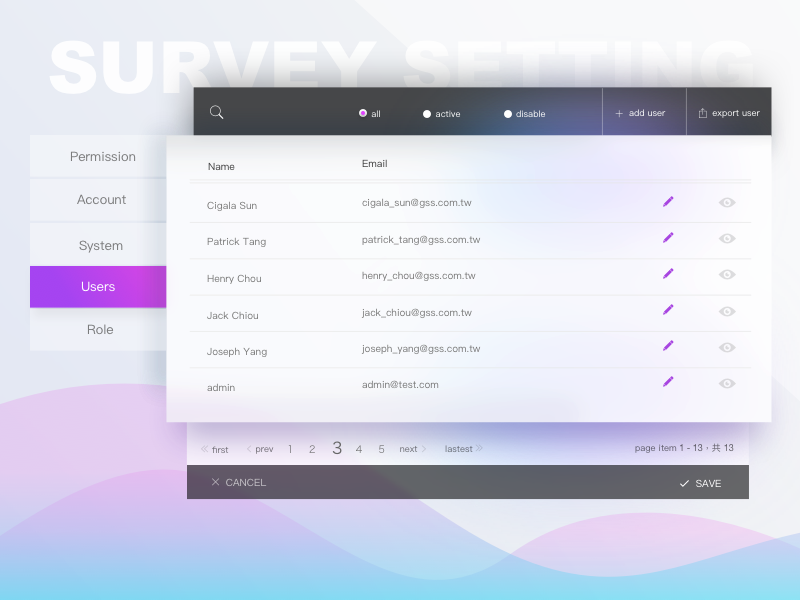 Survey system user setting grid list user list survey configuration setting