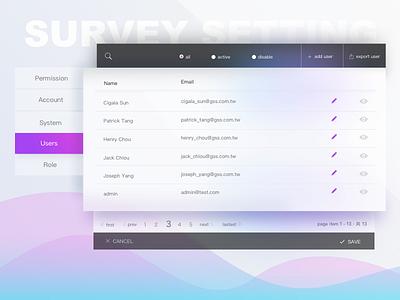 Survey system user setting grid list user list survey configuration setting