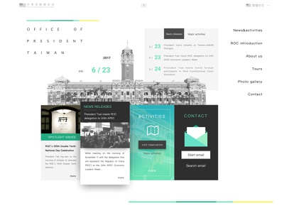 A new design concept for office of the president card turquoise shadow homepage taiwan redesign president
