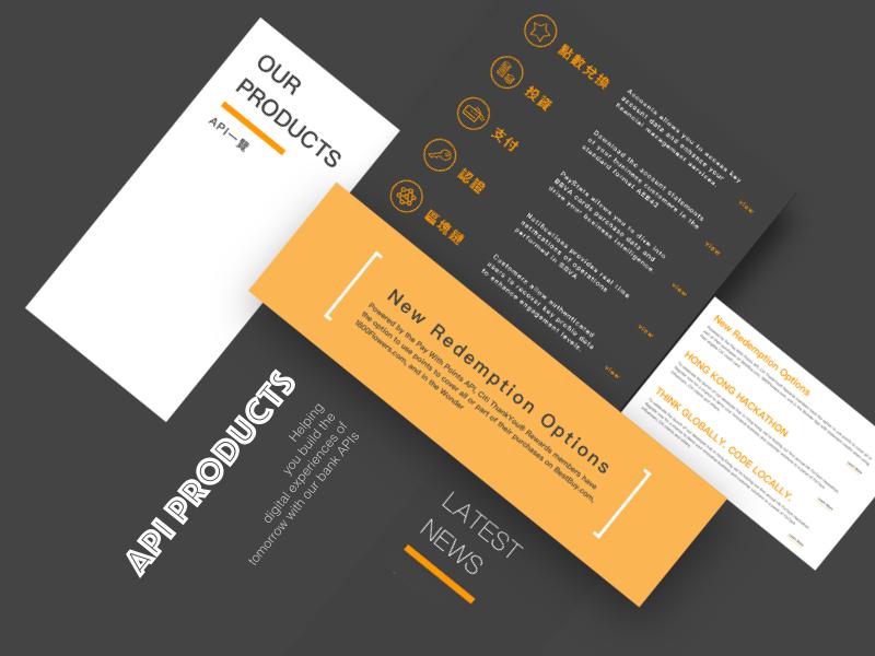 API products website template flat shadow modern orange layout api template