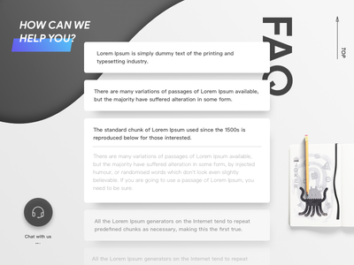 FAQ Page shadow help alien contact template ui skeuomorphism faq