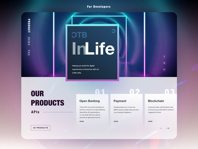 API Portal Design glow neon banking api layout diffuse shadow color card blur shadow design ui geometry gradient landing page