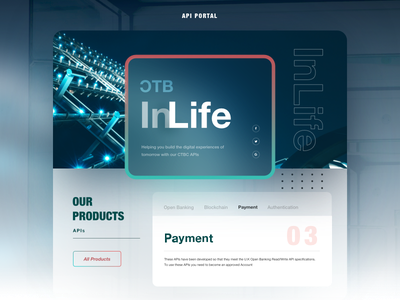 API Portal Design ver2. photo manipulation banking layouts opacity technology glow portal landing page api diffuse shadow design color blur ui geometry shadow gradient layout