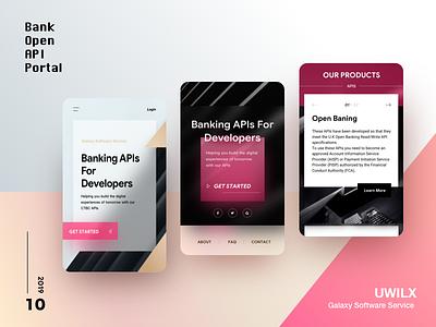Open Bank API Portal Design portal rwd mobile shadow gradient card api diffuse shadow design color blur ui geometry
