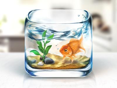 Fishbowl iOS Icon fish bowl ios icon desktop water sand glass